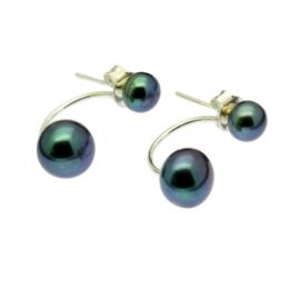 Pearl Earrings - Double Button Pearls AAA - Sterling Silver Stud & Loop Black or White